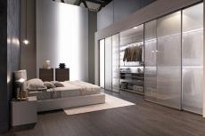 Bedroom featuring semi transparent sliding door closet