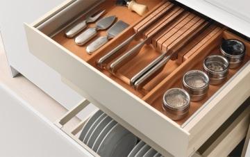 Wooden utensils drawer organizer
