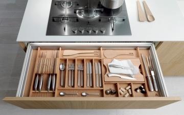Wooden utensils and knife drawer organizer