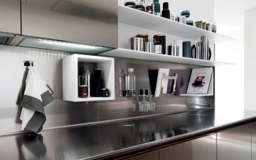 Stainless steel open shelving