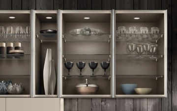 Clear glass Teca industrial display cabinet
