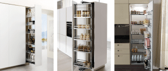 Tall units with pull out shelving and mechanisms