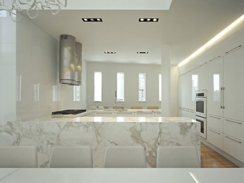 Penthouse New York, NY. Modern kitchen design, open concept, high gloss finish, pure white kitchen, integrated appliances.