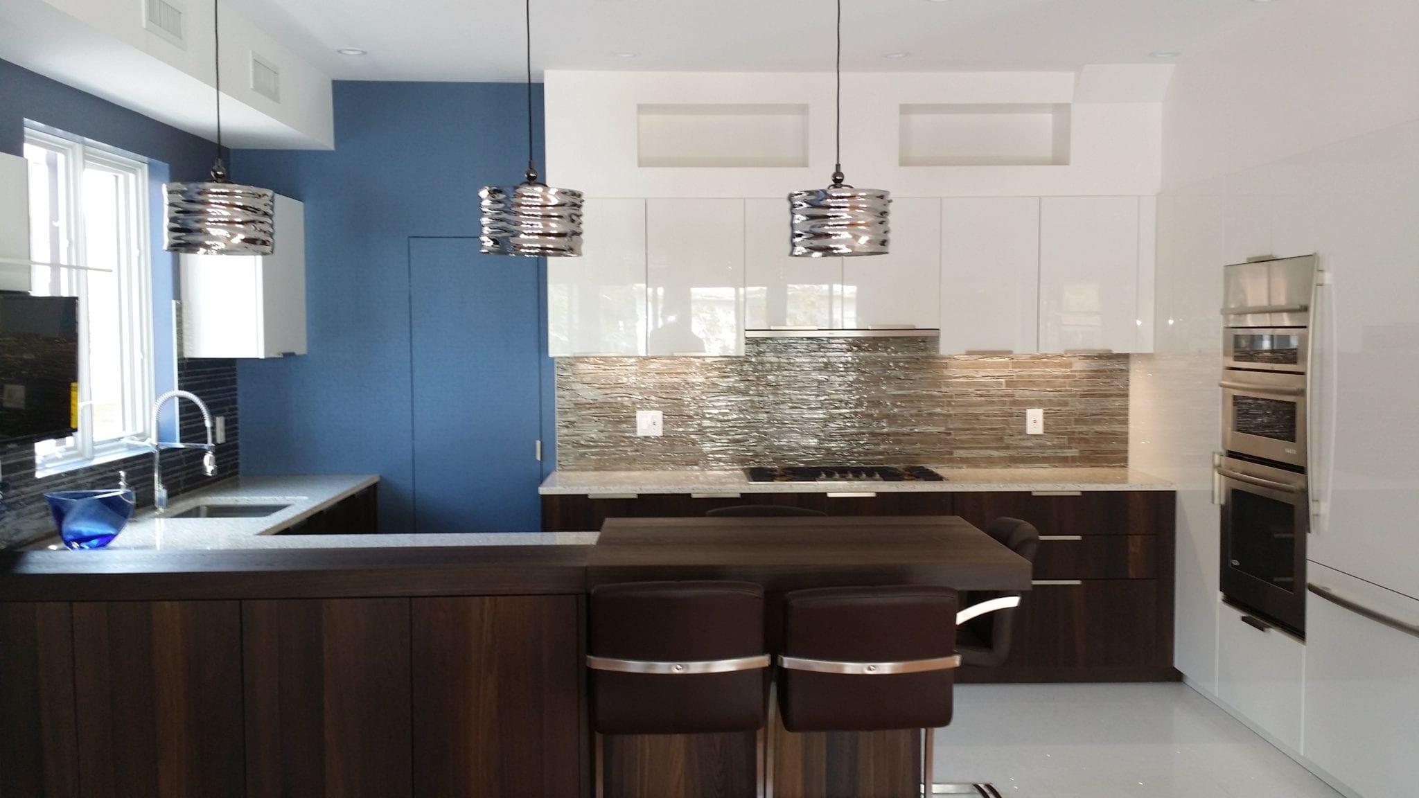 Dark wood veneer, high gloss lacquer, quartz counter,