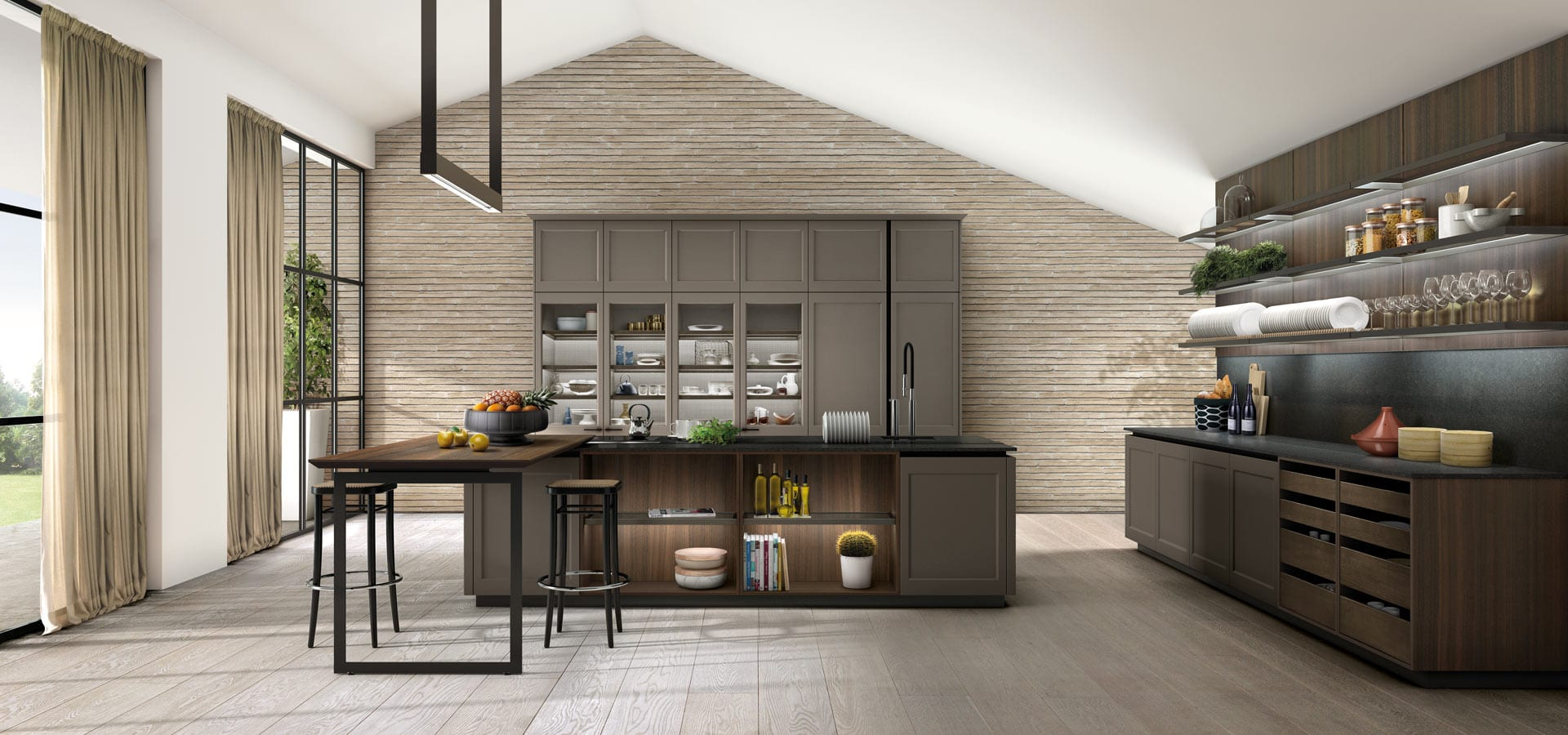 Transitional style, a modern kitchen with tradional flare.