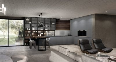 Modern european kitchen in stone, wood, and smoked glass
