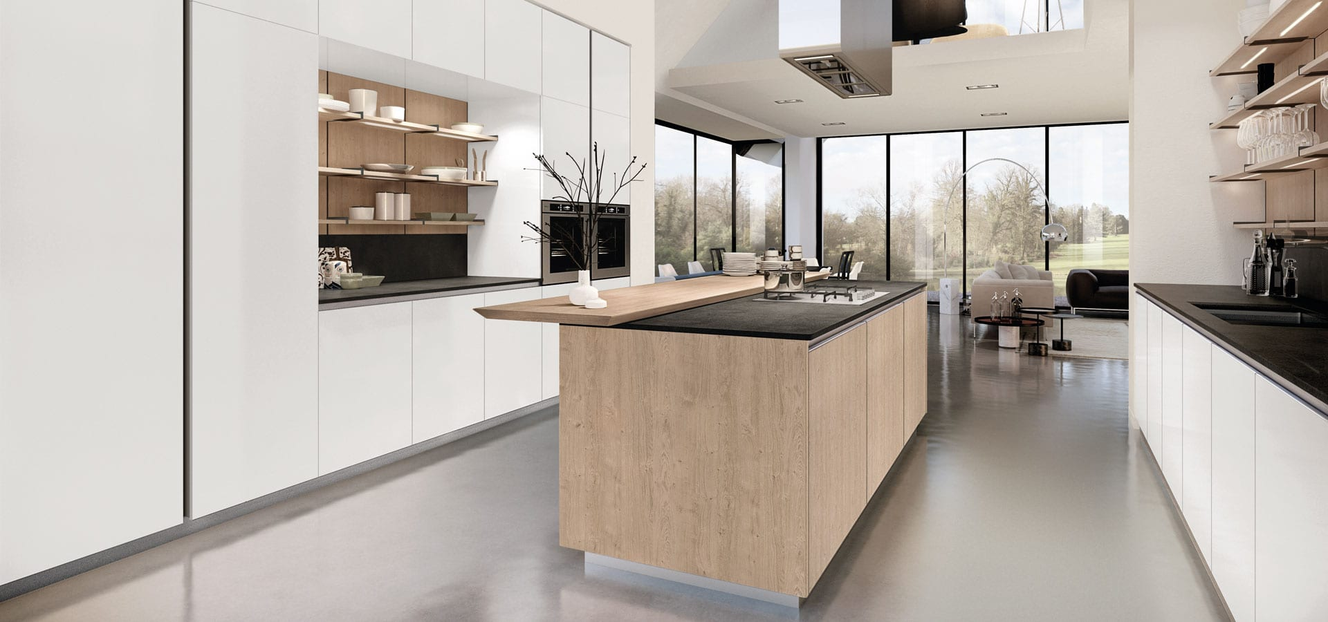 Modern white kitchen with wood island
