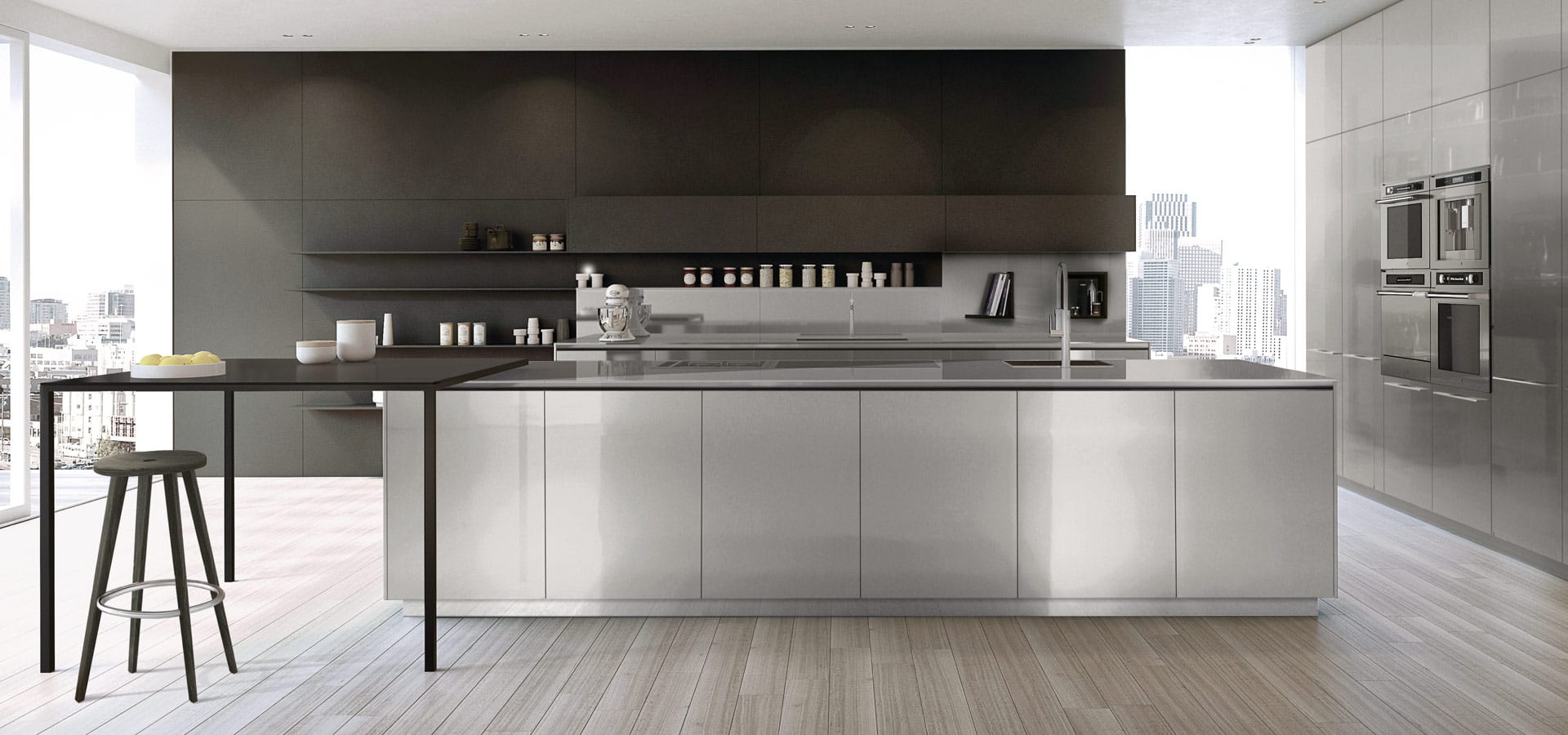Modern european stainless steel kitchen with large island, wood veneer cabinets