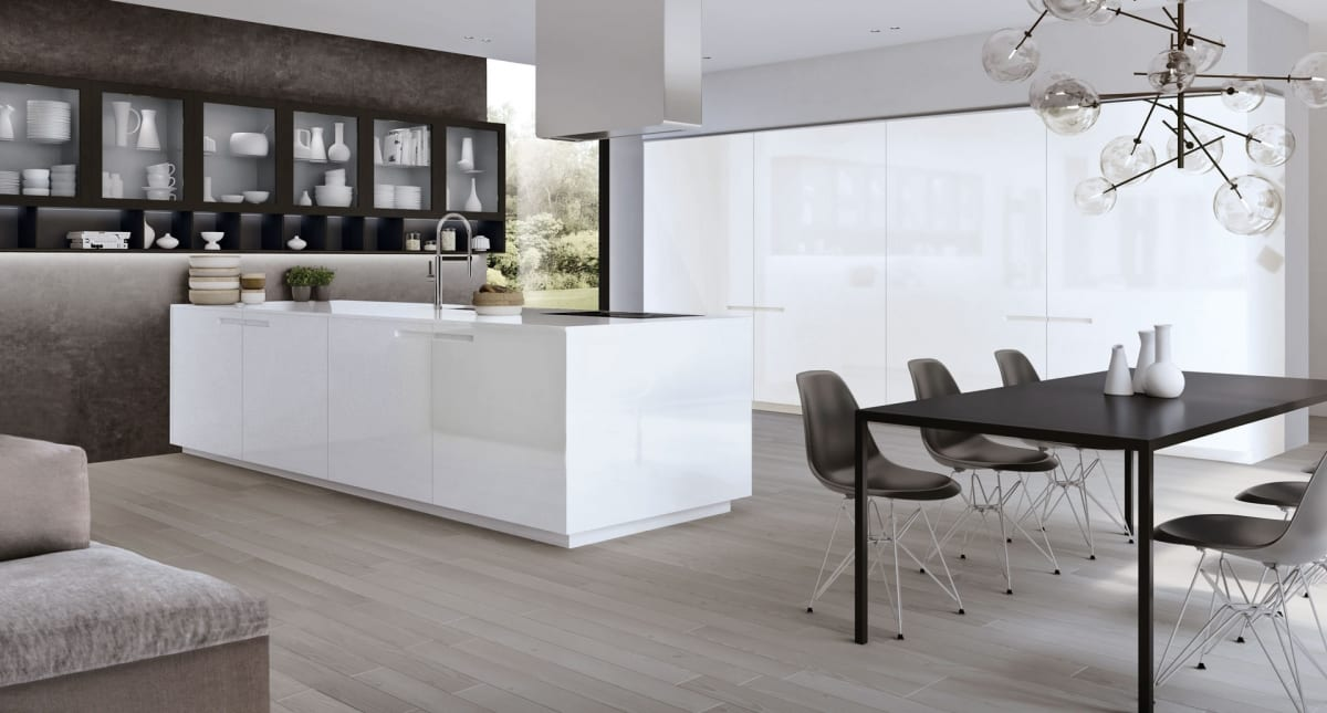 Modern european kitchen with integrated asymmetrical handle