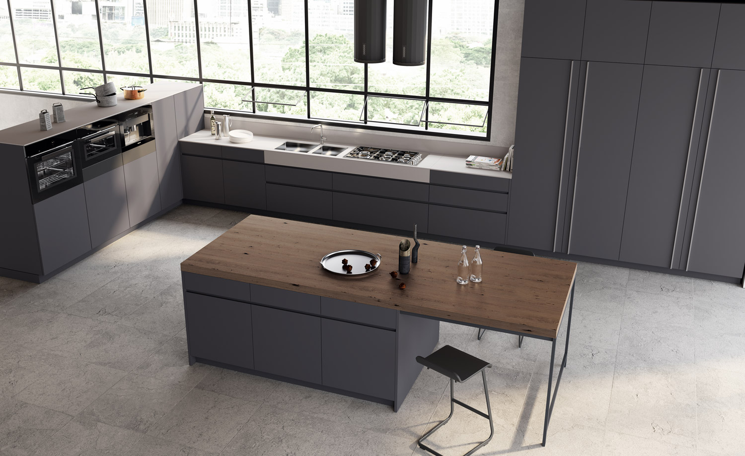 BK System offers a vast variety of technical and stylistic solutions in a modern kitchen space. Innovative materials and design are always on top of a more demanding clientele and in line with the latest trends in the modern kitchen design.