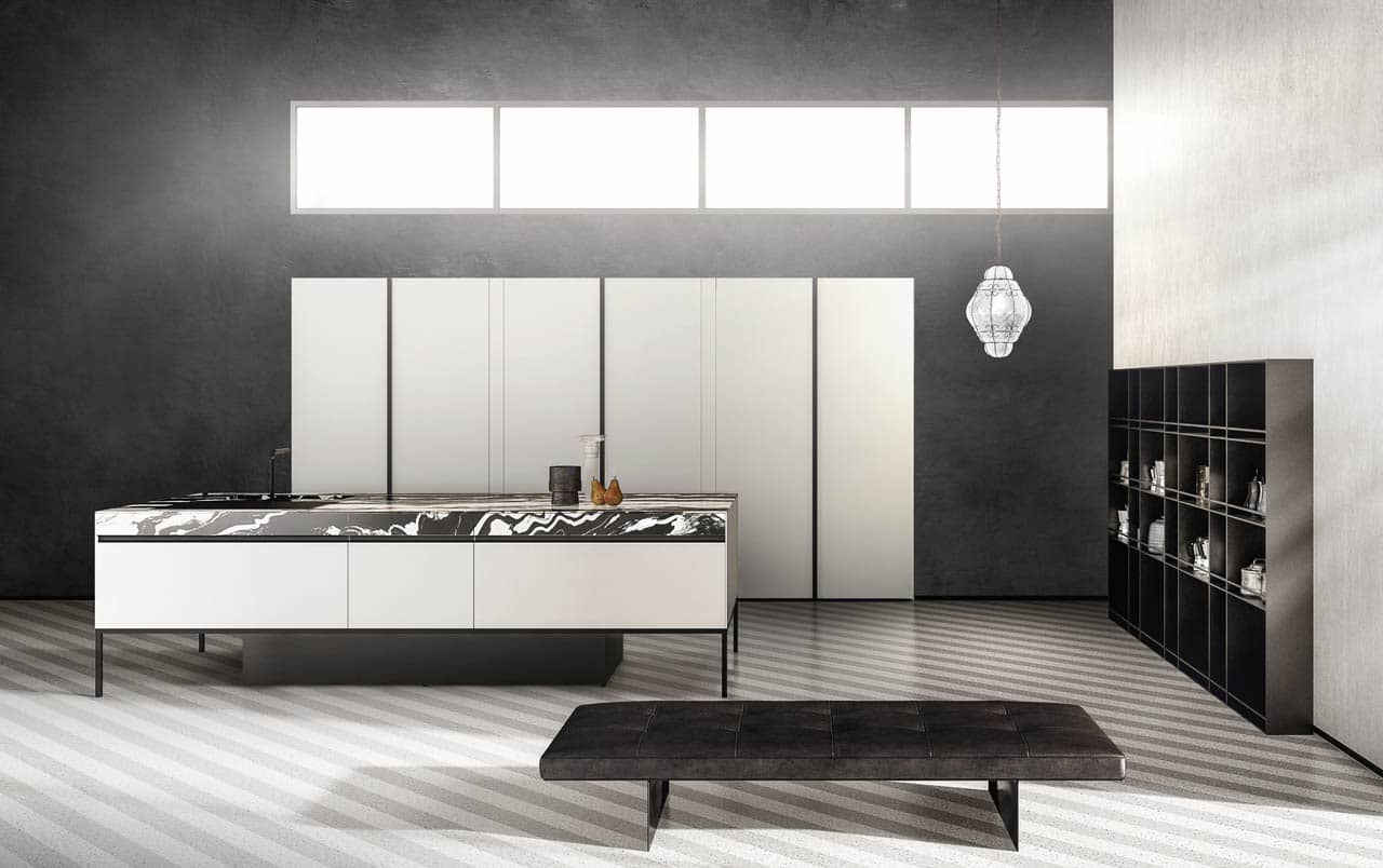 Minimal modern kitchen with industrial elements. European Kitchen Center